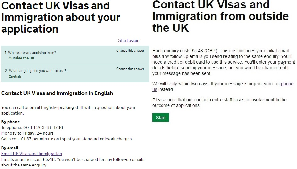 It now cost £5.48 for visa \'email\' enquires made outside the UK ...