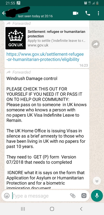 Is The Whatsapp Rumour Settlement Refugee Or Humanitarian Protection And Windrush Damage Control True Onenigerianbritico